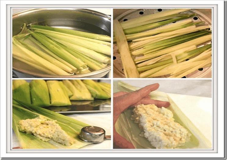Tamales de Elote, envuelva la masa en las hojas mas grandes de elote