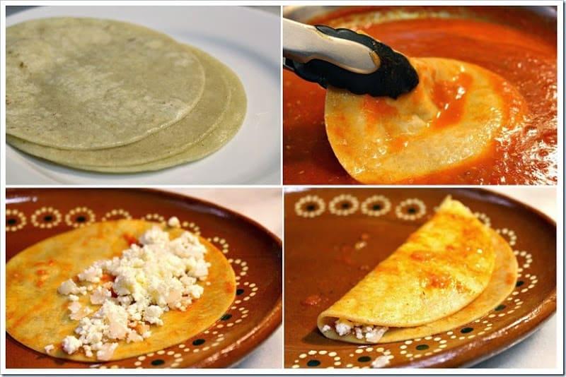 sumerja las tortillas en la salsa, receta de entomatadas