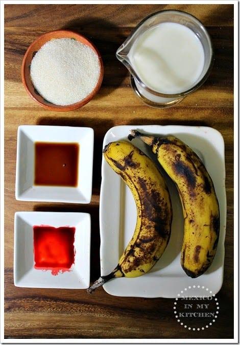ingredientes para esta deliciosa agua de plátano