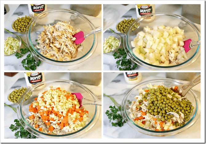 Ensalada de Pollo paso a paso, esta receta lleva zanahorias, papas, chícharos y mayonesa.