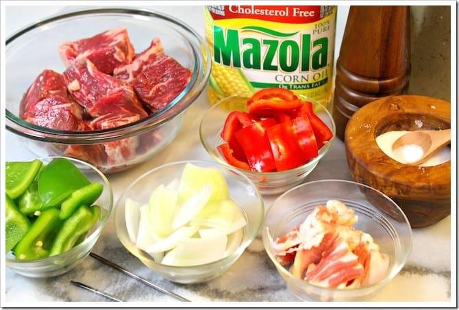 Alambres o Brochetas a la Parrilla, ingredientes para esta receta