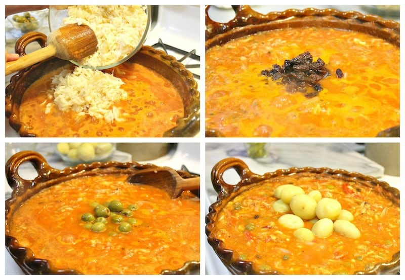 agrega el Bacalao desmenuzado, estamos preparando esta deliciosa receta Bacalao a la Vizcaína