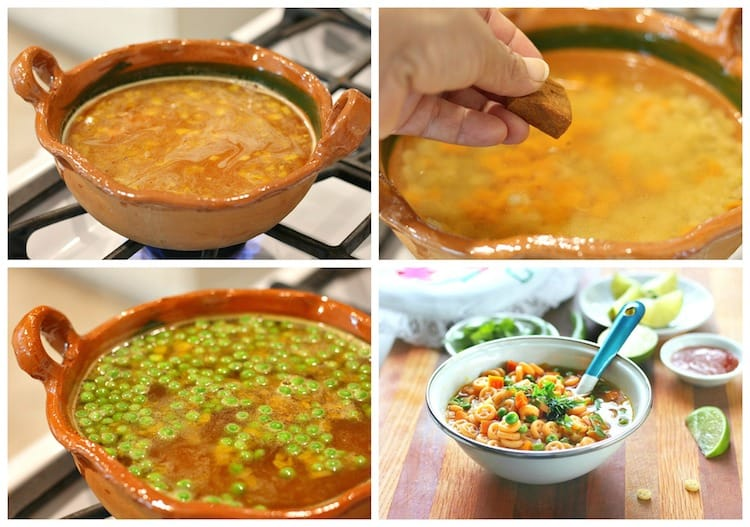 Sopa de pasta fácil con verduras, instrucciones paso a paso