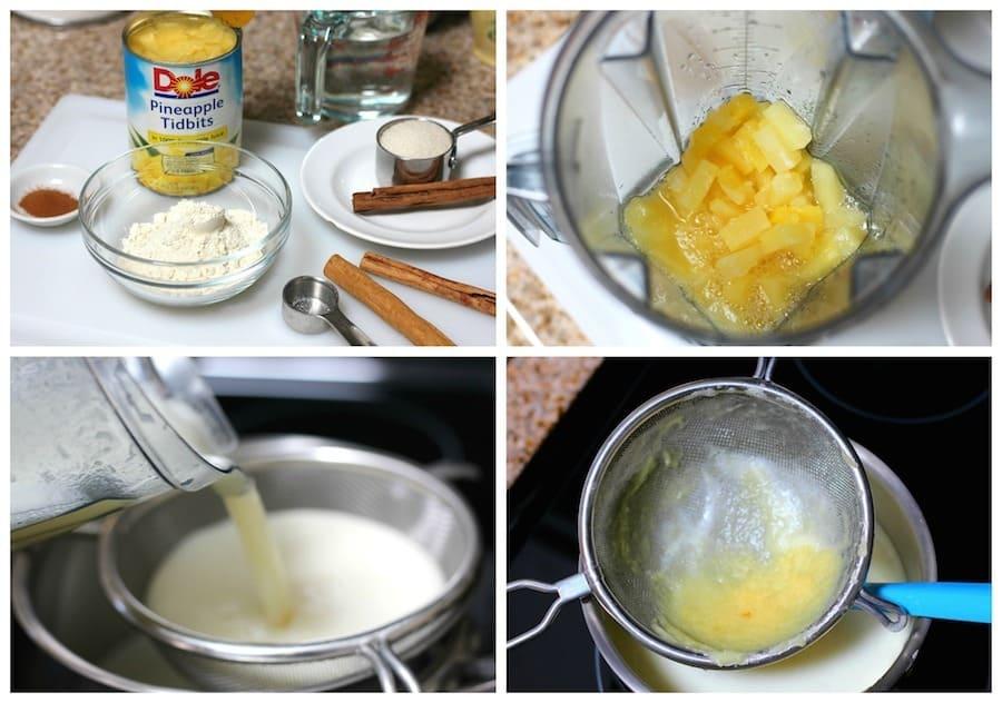Atole de piña receta sencilla instrucciones paso a paso con imagenes