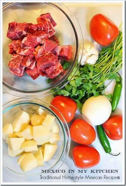 Carne con Papas, ingredientes