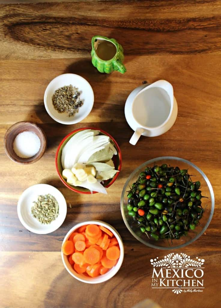 Chile de Monte En Vinagre, ingredientes necesarios