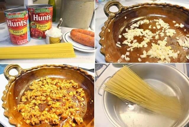 Espagueti con Chorizo, instrucciones paso a paso