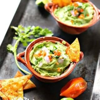 Receta Guacamole cremoso con chile habanero
