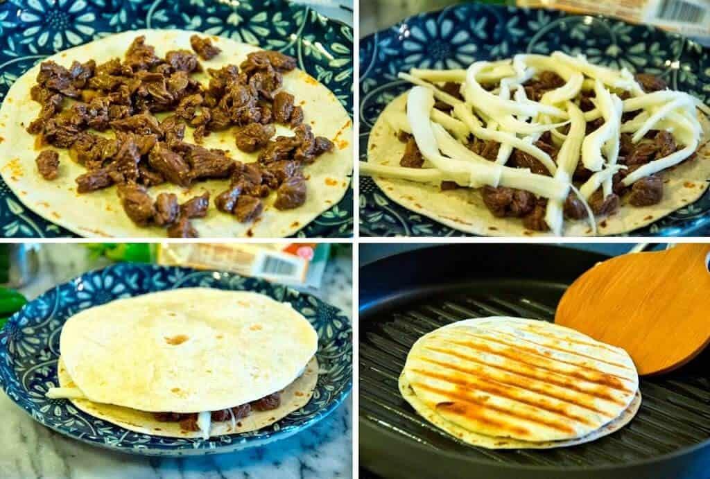 Sencilla receta, tutorial gratis, Quesadillas de bistec con queso