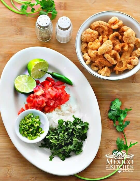 ceviche de chicharrón botana, ingredientes
