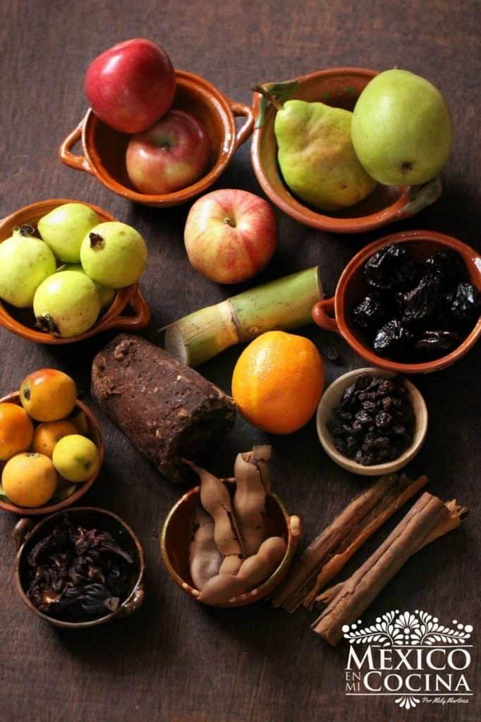 Ingredientes ponche de frutas navideño