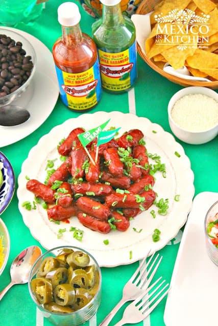 Aperitivo salchichas a la diabla | Recetas de Comida Mexicana