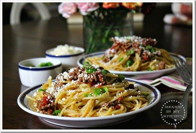 espagueti al chipotle │Recetas de Comida Mexicana