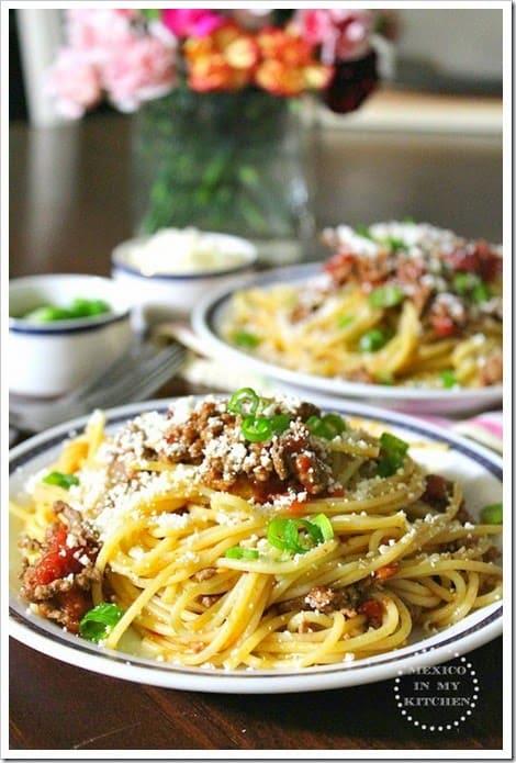 espagueti al chipotle │Comida Mexicana