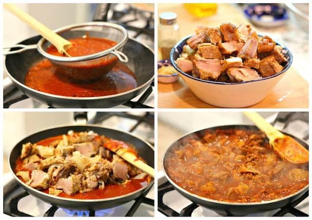 chicharrón prensado en salsa guajillo │Instrucciones paso a paso