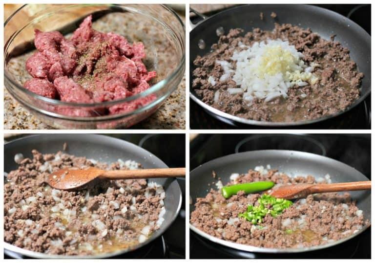 Instrucciones paso a paso para preparar receta de carne molida