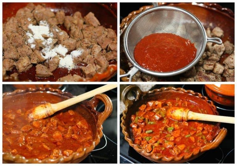 Intruccciones paso a paso para preparar chile colorado con cerdo y nopales