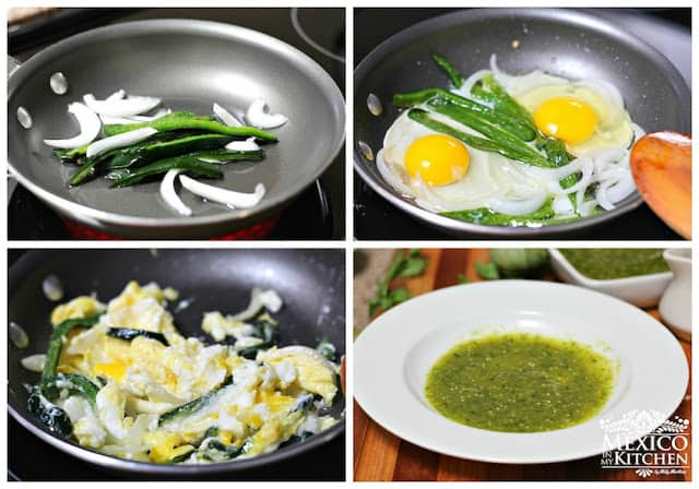 Instrucciones paso a paso para preparar huevos revueltos con chile poblano
