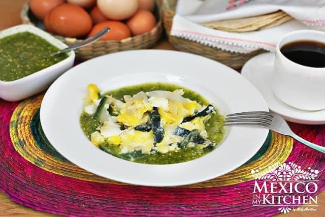 Receta de huevos revueltos con chile poblano