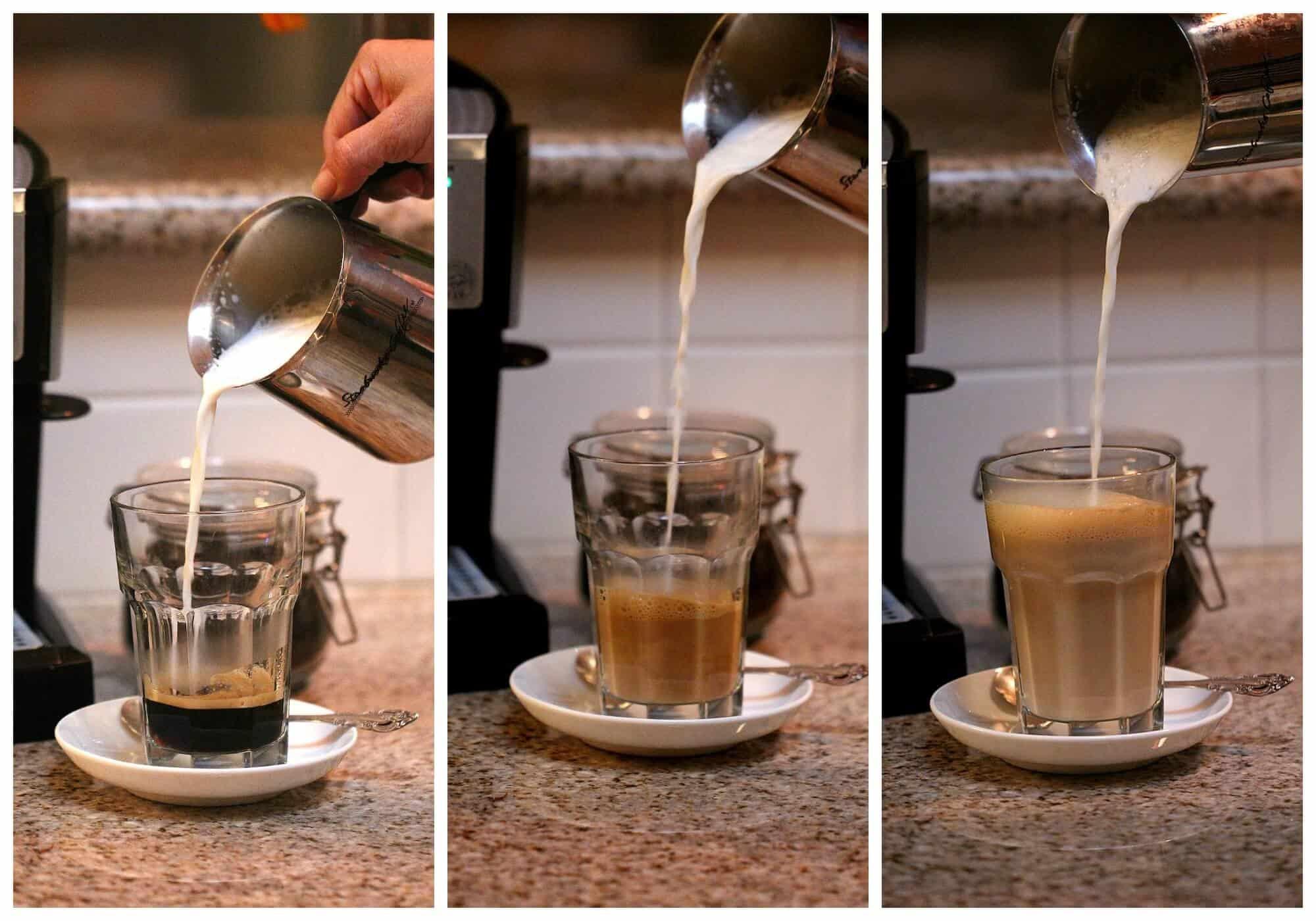 Instrucciones para servir una deliciosa taza de café con leche