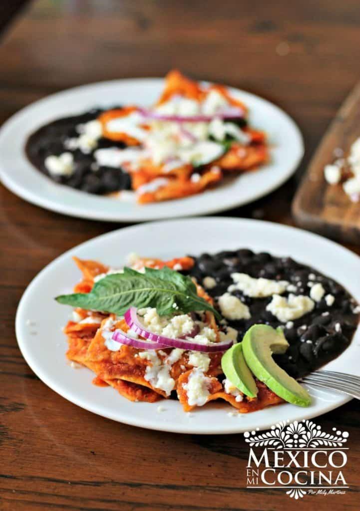 Como cocinar Chilaquiles Rojos receta - 3