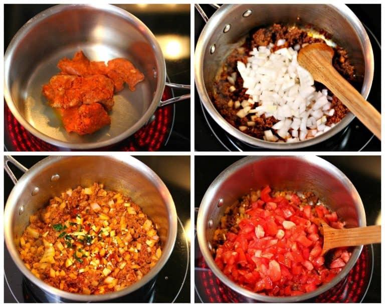 Instrucciones paso a paso, sopa de frijoles negros con chorizo