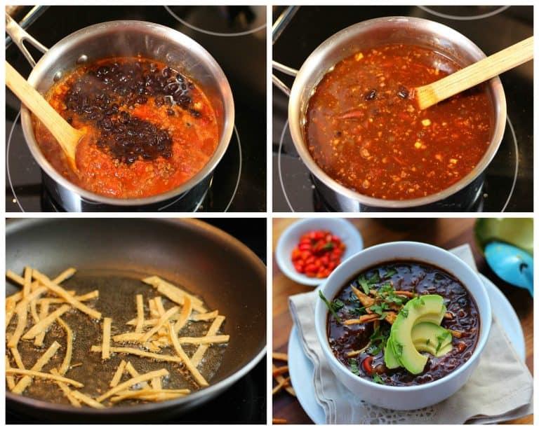 Sopa de frijoles negros con chorizo