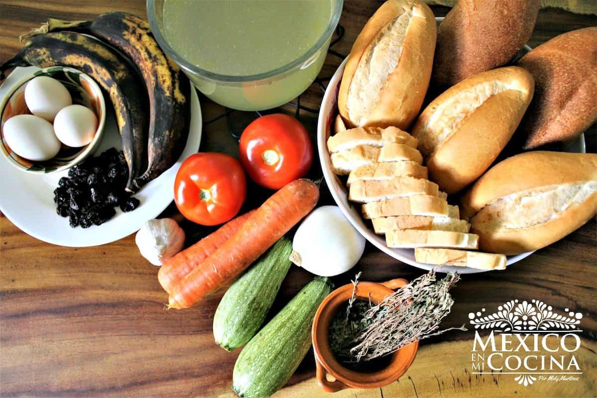 ingredientes sopa de pan chiapas