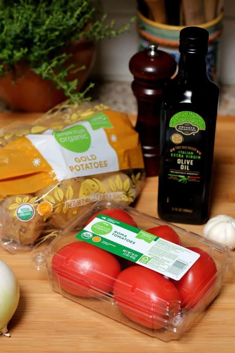 Ingredientes para preparar sopa de papa