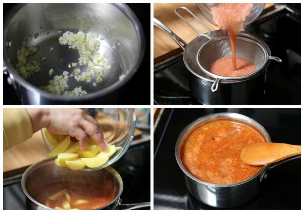 Instrucciones paso a paso para preparar sopa de papa