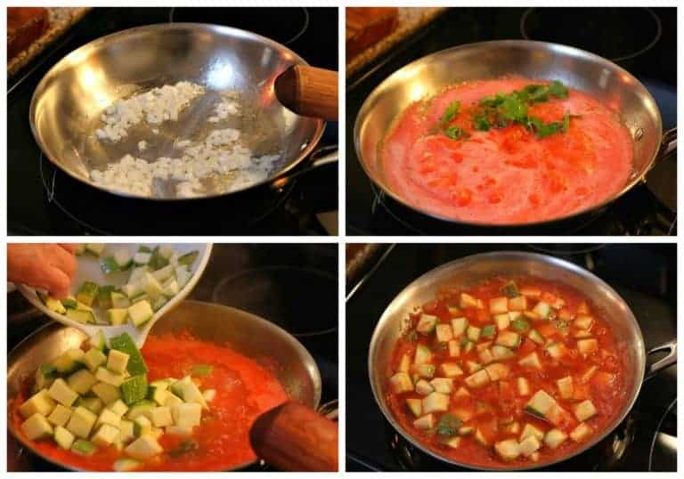 Preparación calabacitas con queso
