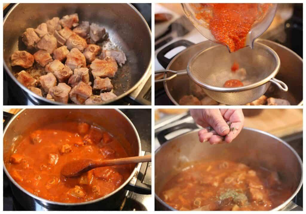 instrucciones paso a paso para preparar costillas de cerdo en salsa de tomate