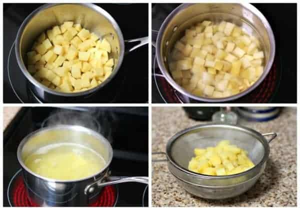 Cocinando la papa para preparar esta sopa