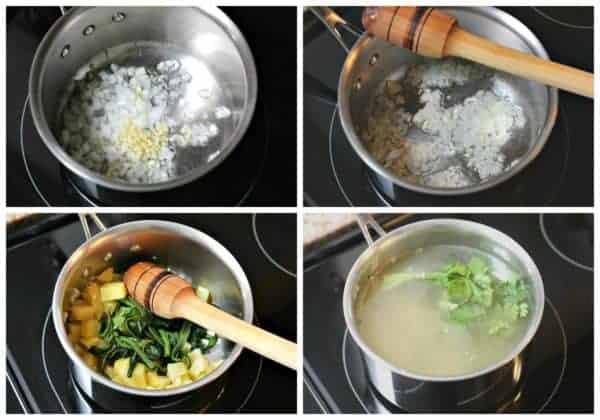 Instrucciones sopa de papa poblano