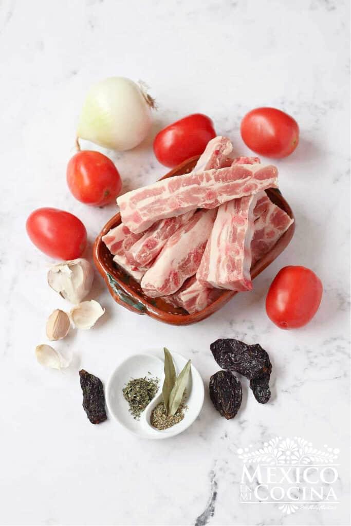Ingredientes Costillas en chile morita